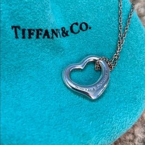 Tiffany  & Co. Open Heart Pendant Necklace. Silver